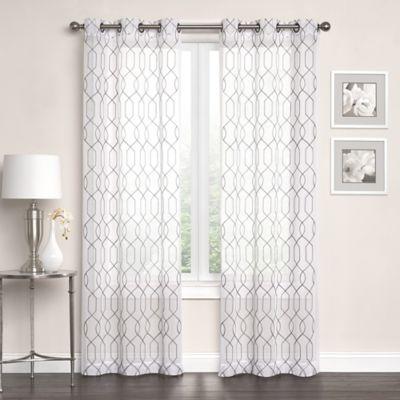 Newbury Embroidered Sheer Grommet Top Window Curtain Panel Pair  Bed Bath  Beyond