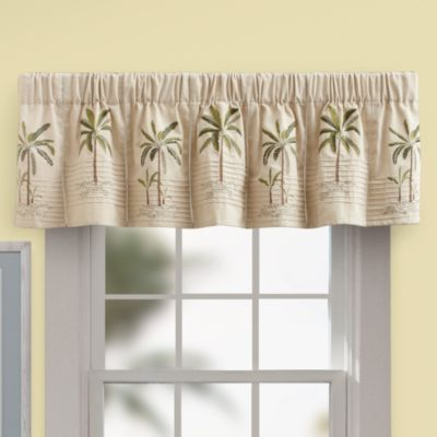 palm tree kitchen decor iskand valance in ivory - bed bath & beyond