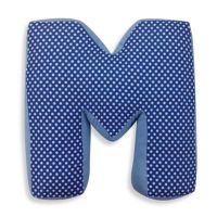 "One Grace Place Simplicity Letter ""M"" Pillow in Blue ..."