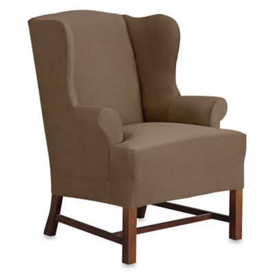 sure fit wing chair cover personalized beach chairs for toddlers fit® designer suede wingback slipcover - bed bath & beyond