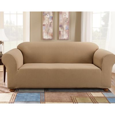 Sure Fit® Simple Stretch Subway Tile 1 Piece Sofa Slipcover Bed
