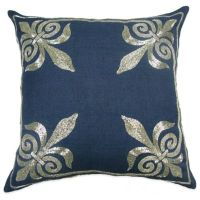 Fleur-De-Lis Square Throw Pillow in Navy - Bed Bath & Beyond