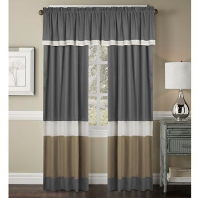 Crystal Window Curtain Panel And Valance In IvoryTaupe