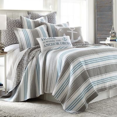 Provincetown Reversible Quilt in Grey  Bed Bath  Beyond