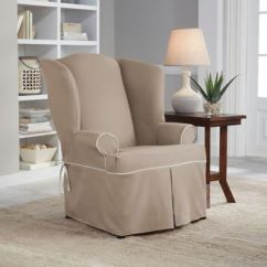 Dining Chair Slipcover Menards Lawn Covers Perfect Fit® Classic Twill Wingback - Bed Bath & Beyond