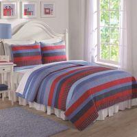 Toddler Bedding Sets > Blue and Red Sebas Stripe Full ...