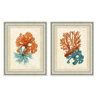 Framed Gicle Teal and Orange Seaweed Print Wall Art ...