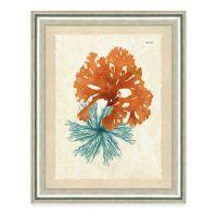 Framed Gicle Teal and Orange Seaweed Print I Wall Art ...