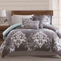 12-Piece Textured Damask Comforter Set in Grey/Teal - Bed ...