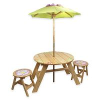 Teamson Kids Outdoor Table and Chairs Set with Umbrella in