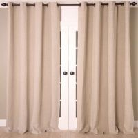 Linen Stripe Vertical Stripe Grommet Top Window Curtain ...