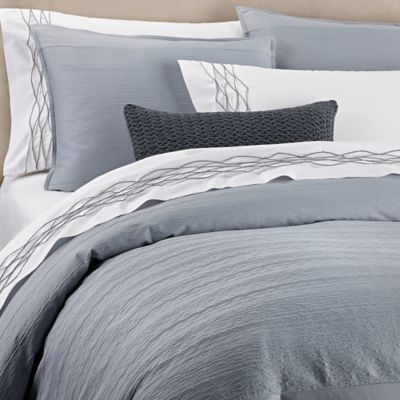 Vera Wang Corrugated Texture Duvet Cover In Blue Bed