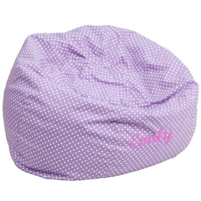 child bean bag chair personalized bouncy baby buy flash furniture kids large in lavender dot from bed bath & beyond