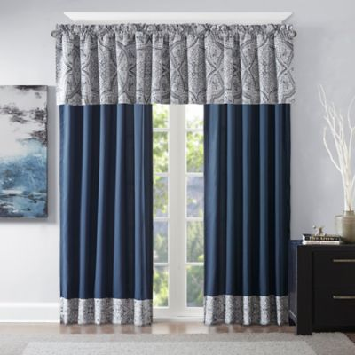 grommet kitchen curtains cabinet companies tanami printed window curtain panel in blue/grey - bed ...