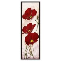 Red Look Floral Canvas Framed Wall Art - Bed Bath & Beyond