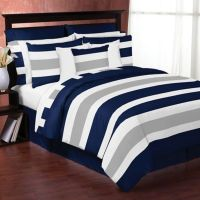 Sweet Jojo Designs Navy and Grey Stripe Bedding Collection ...