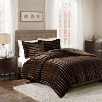 Madison Park Duke Faux Fur 3-Piece Comforter Set - Bed ...