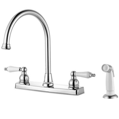 two handle kitchen faucet with side spray polished chrome henlow 2 f 036 4hlc 1