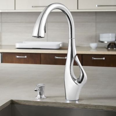 chrome kitchen faucet moen oil rubbed bronze polished indira 1 handle pull down f 529