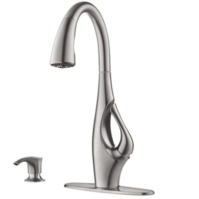 stainless kitchen faucet commercial mats steel indira 1 handle pull down f 529