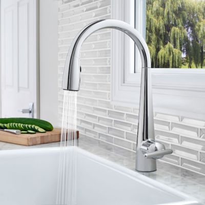 chrome kitchen faucet 8 inch cabinet polished lita with xtract 1 handle pull down
