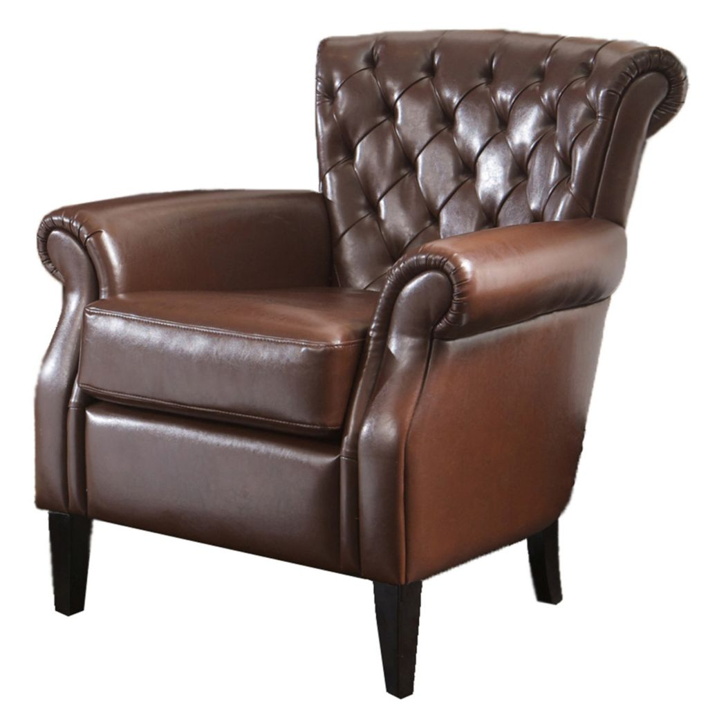 christopher knight club chair desk too low home 33 brown tufted leather evine 449 727