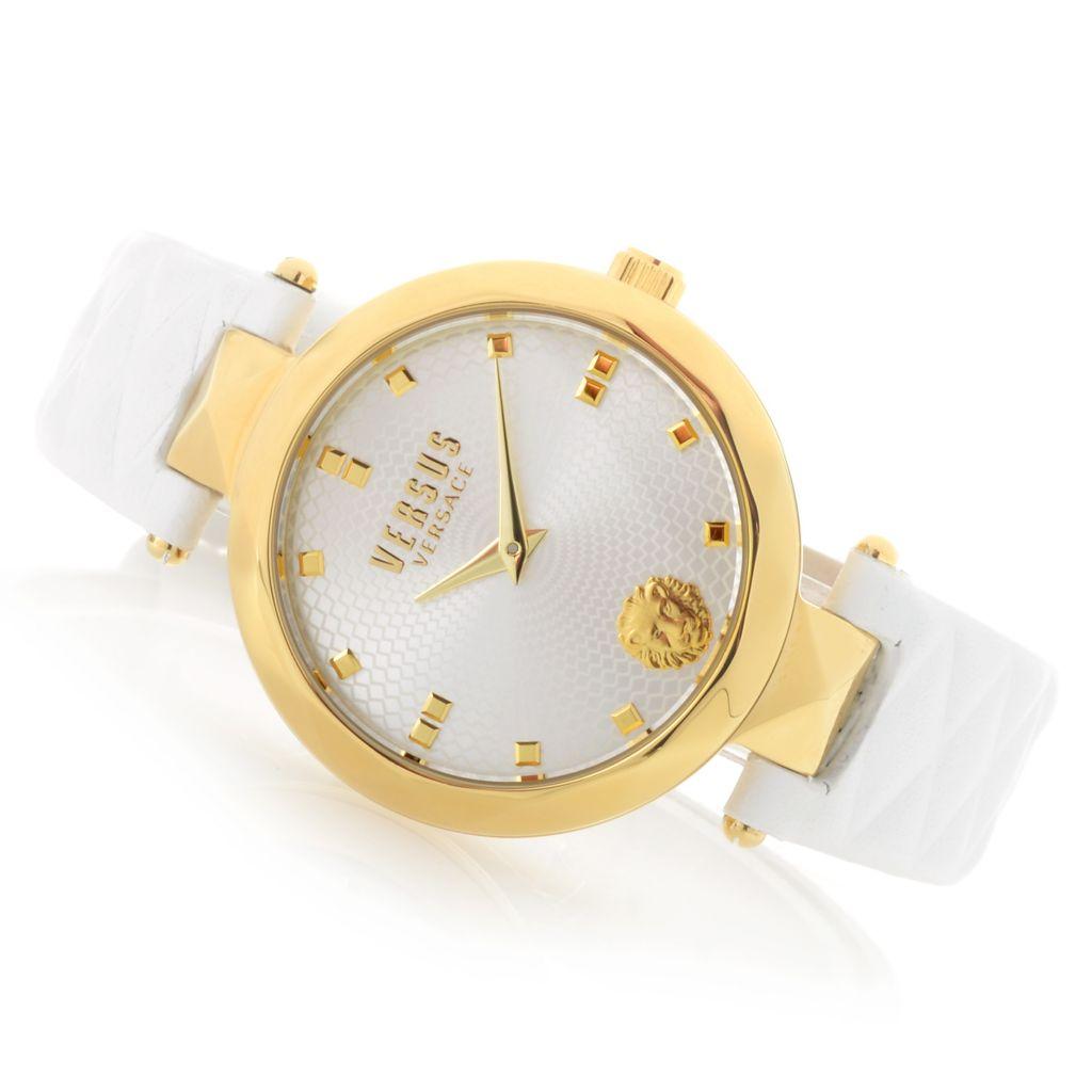 658 794 versus versace women s covent garden quartz sunray dial leather strap watch