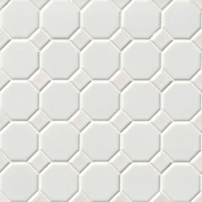 octagon matte white porcelain mosaic tile 2 25 x 2 25 in