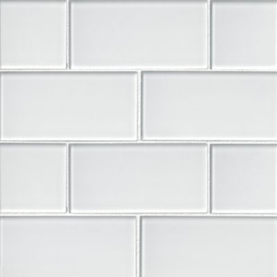 snow glass subway tile 3 x 6 in