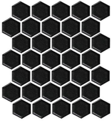 hex matte black porcelain mosaic tile 2 x 2 in
