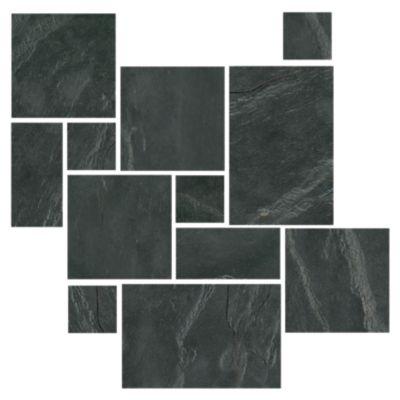 adoni black small versailles pattern slate floor tile
