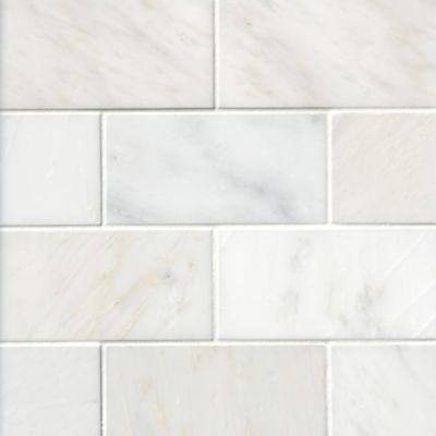 hampton carrara polished marble subway wall and floor tile 3 x 6 in