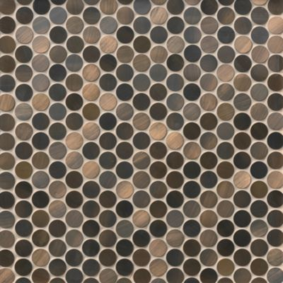 brushed copper penny round metal mosaic wall and floor tile