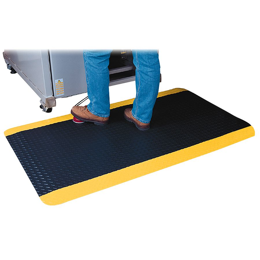 officemax chair mat big round living room chairs genuine joe safe step anti fatigue 3 x 5 blackyellow by office depot &