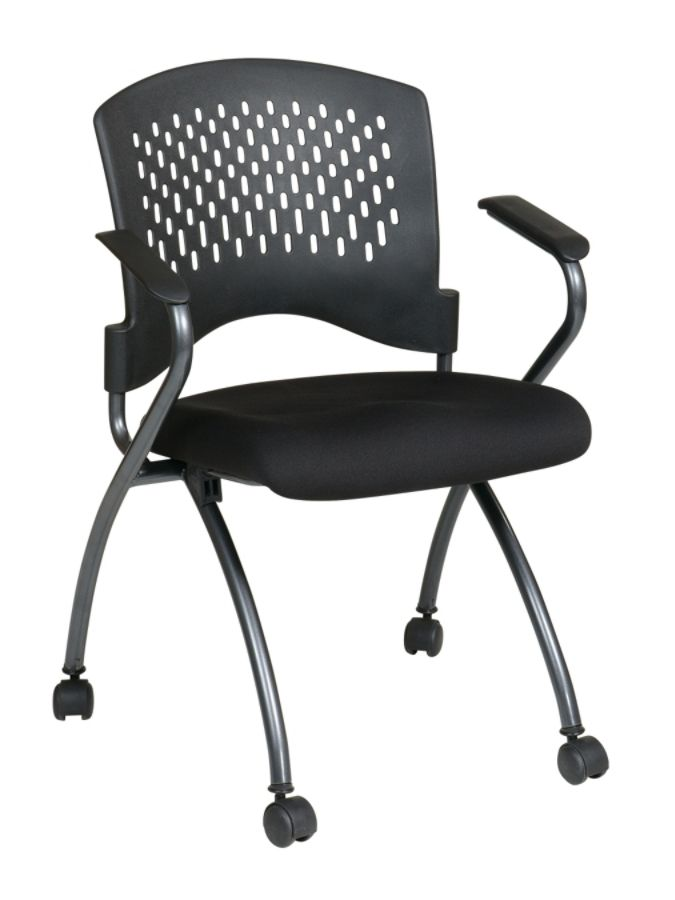 Office Star Folding Chair With Casters Deluxe 34 H x 24 12