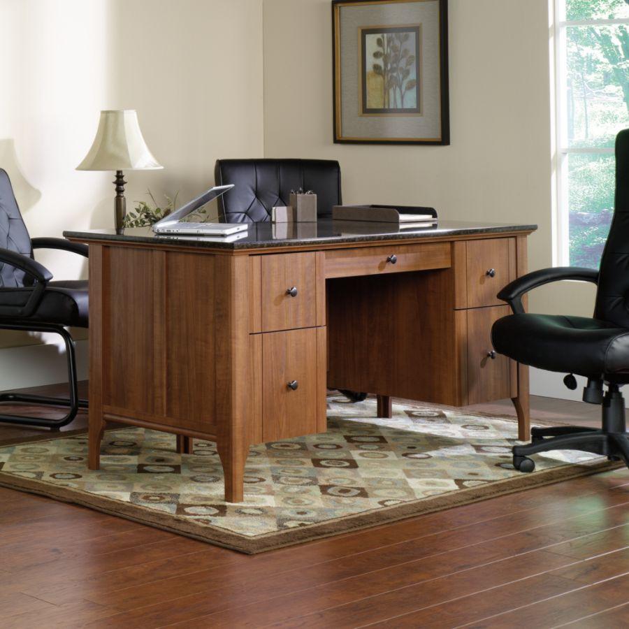 Sauder Appleton Faux Marble Top Executive Desk Sand Pear