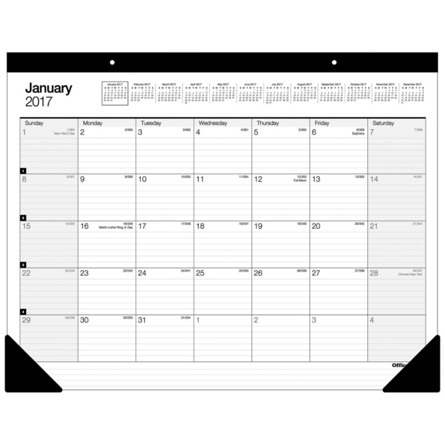 Office Depot Brand Large Monthly Desk Pad Calendar