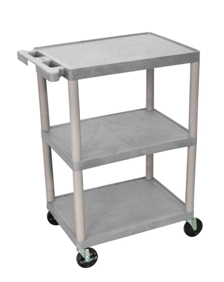 Cart 3 shelves 32 12 h x 24 w x 18 d gray by office depot amp officemax