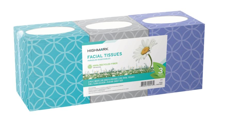 Highmark 100percent Recycled 2 Ply Facial Tissue White