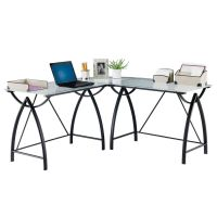 "Realspace Alluna Collection Glass L-Shape Desk, 29 1/8""H ..."