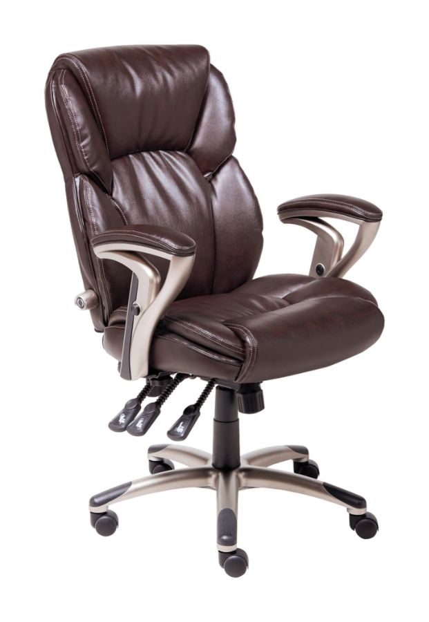serta managers chair fishing repairs ergonomic leather multifunction brown by office depot & officemax