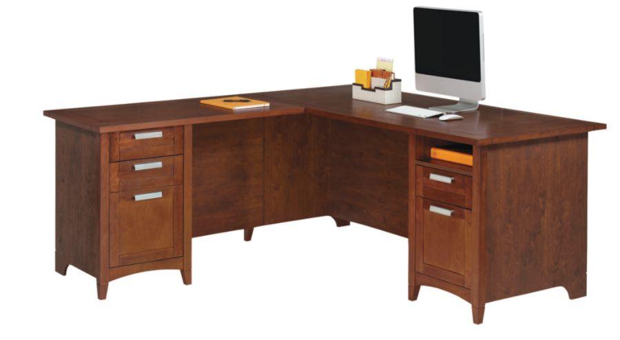 Realspace Marbury L Shaped Desk Auburn Brown by Office