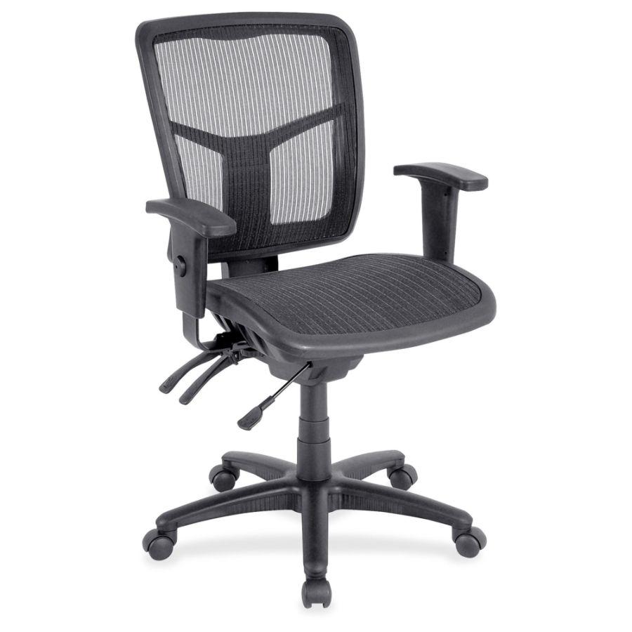 Lorell Mid Back Swivel Mesh Chair Black Frame 5 star Base