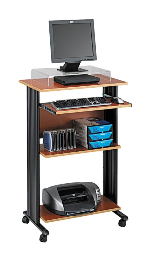 Safco Fixed Height Stand Up Workstation Cherry by Office