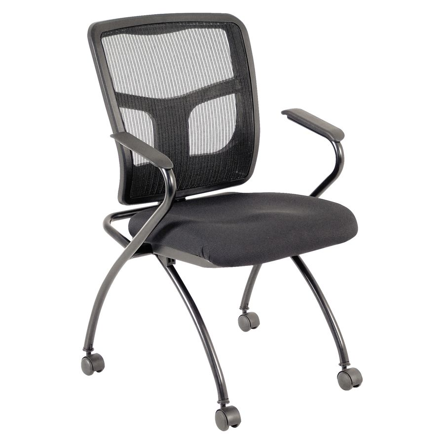 Lorell Mesh Back Fabric Seat Nesting Guest Chairs Black
