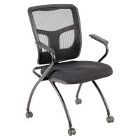 Lorell Mesh Back Fabric Seat Nesting Guest Chairs Black ...