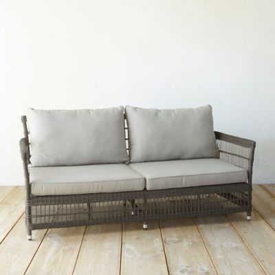 all weather wicker sofa camping trellis weave in outdoor living