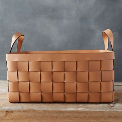 wide weave leather basket