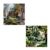 Abstract Park All Weather Outdoor Canvas Wall Art - Bed ...
