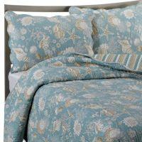 Natural Shells Reversible Quilt in Blue/Beige - Bed Bath ...